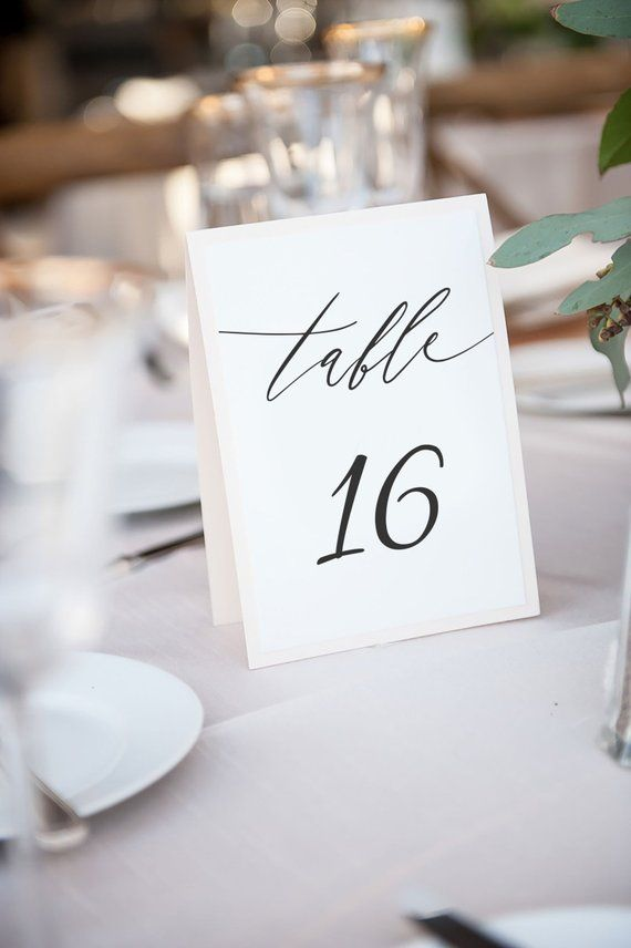5x7 Calligraphy Wedding Table Number Cards Templates Instant