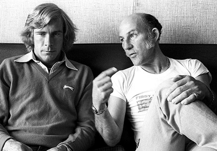 James Hunt and Stirling Moss Dutch Grand Prix Zandvoort 1977. A great photo
