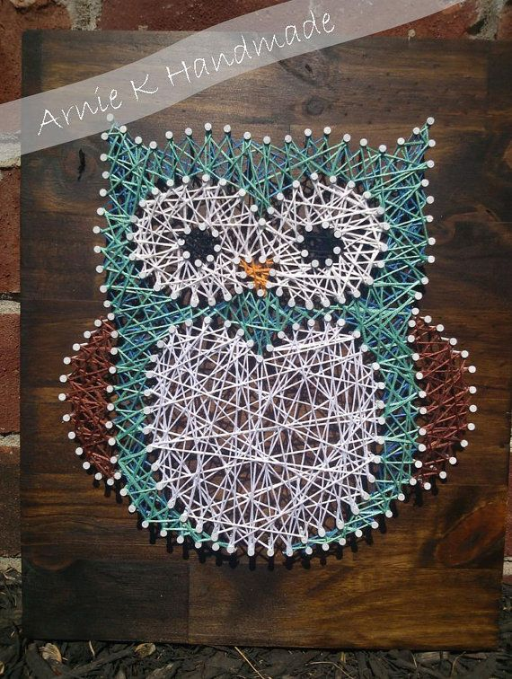 String Art Owl Nursery Decor Wall Decor Modern by ArnieKHandmade