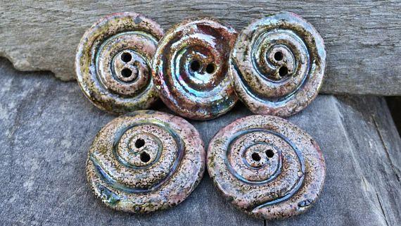 5 Ceramic Spiral Button 1 2/8 30mm round button raku