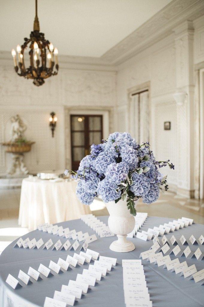 Blue Hydrangea Escort Card Arrangement, Armour House Chicago Wedding, Photo: Amanda Megan Miller Photography