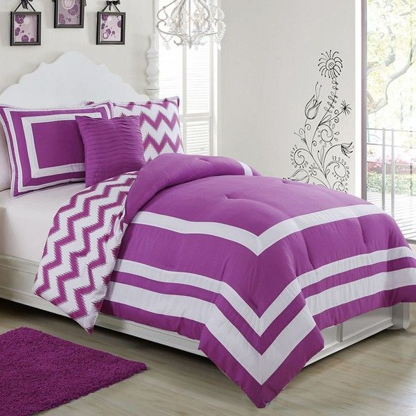 Madeline Reversible 3-piece Comforter Set, Purple (115 CAD) ❤ liked on Polyvore featuring home, bed & bath, bedding, comforters, purple, chevron bedding, twin bedding, purple chevron comforter, zig zag comforter and twin comforter