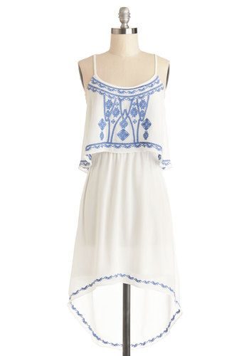 A New Lighthearted Dress - Chiffon, Sheer, Woven, Mid-length, White, Blue, Embroidery, Casual, Festival, High-Low Hem, Spaghetti Straps, Goo...