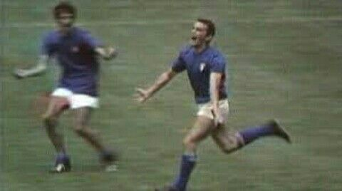Italy 4 West Germany 3 in 1970 in Mexico City. Luigi Riva is overjoyed, his goal on 104 mins makes it 3-2 Italy in the World Cup Semi Final.