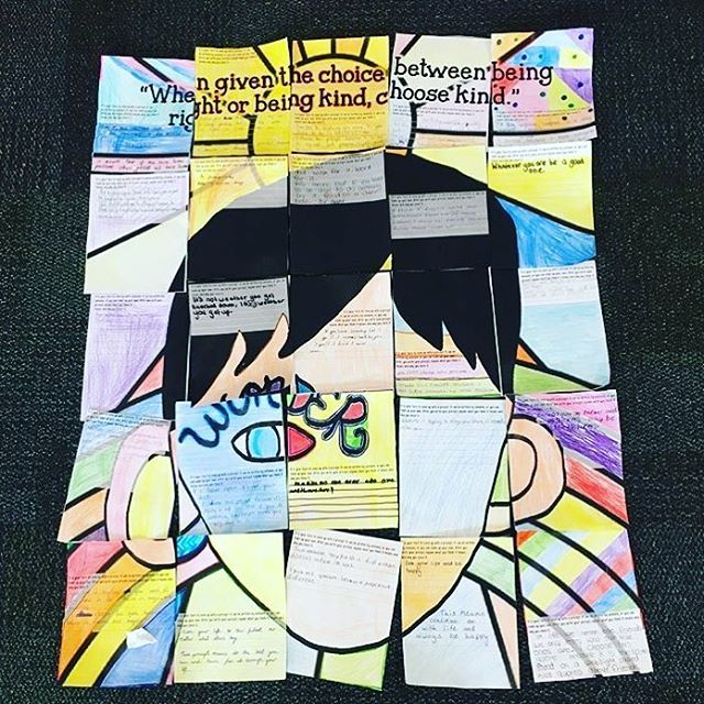 What a WONDERful poster! Collaborative activity. Lots of talking. Ideas. Writing. Creativity. This Wonder writing activity poster is triple the fun with the combination of coloring, creativity, and group work! All inspired by your Wonder novel study.  #wonder