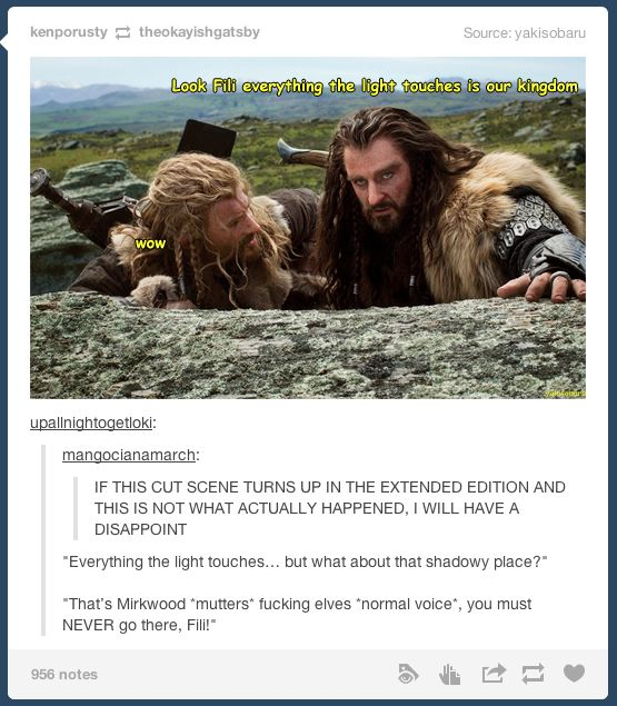And then they see Kili in the distance skipping into mirkwood...