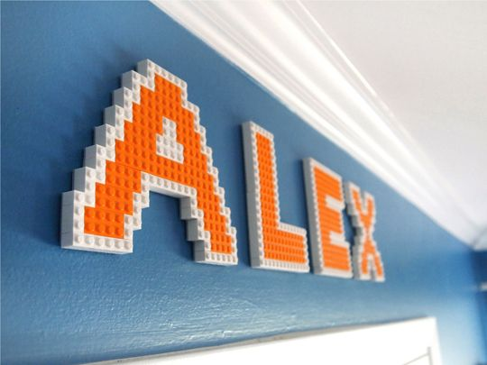 Child's name made with Legos---fun!