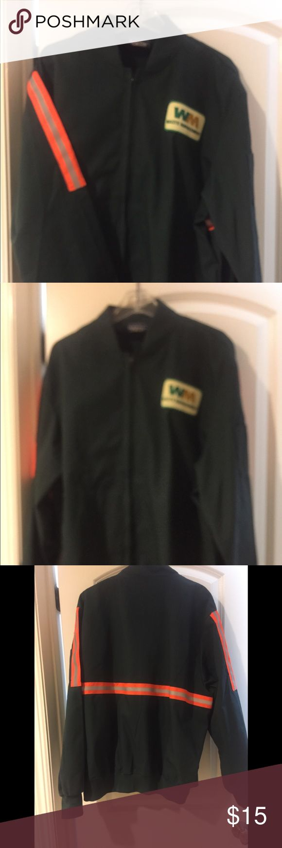 Men's safety jacket/windbreaker Navy zip up windbreaker with safety reflective tape on sleeves and back.  Two front pockets and one small pocket on sleeve.  Waste Management logo also makes this great as sanitation worker costume for Halloween! Jackets & Coats Windbreakers