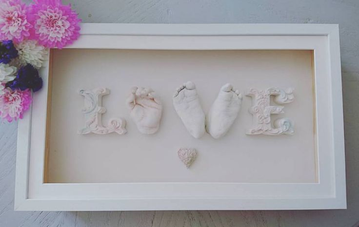 Baby and toddler casting framed in LOVE. A casting of two baby feet and baby/toddler hand in your choice of finish. Choose a from a selection of deep wooden box frames. The frame comes with your choice of mount. Includes baby's name and age mounted on the display. £240 One individual cast hand or foot £80 Duplicates can be made at a discounted price so don't miss out the Grandparents