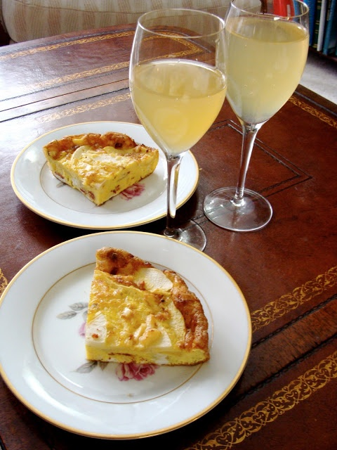 Apple Bacon Cheddar Frittata and Peach Bellinis