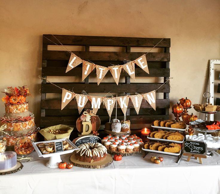 www.UnforgettableMomentsEventRentals.com  Little Pumpkin Baby Shower #DessertBar #DessertTable #Fall #pumpkin #baby