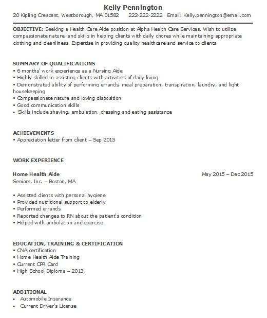 home health aide resume sample less experience care