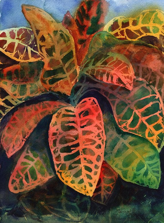 Rainbow Crotons Original Watercolor Painting of Tropical ...