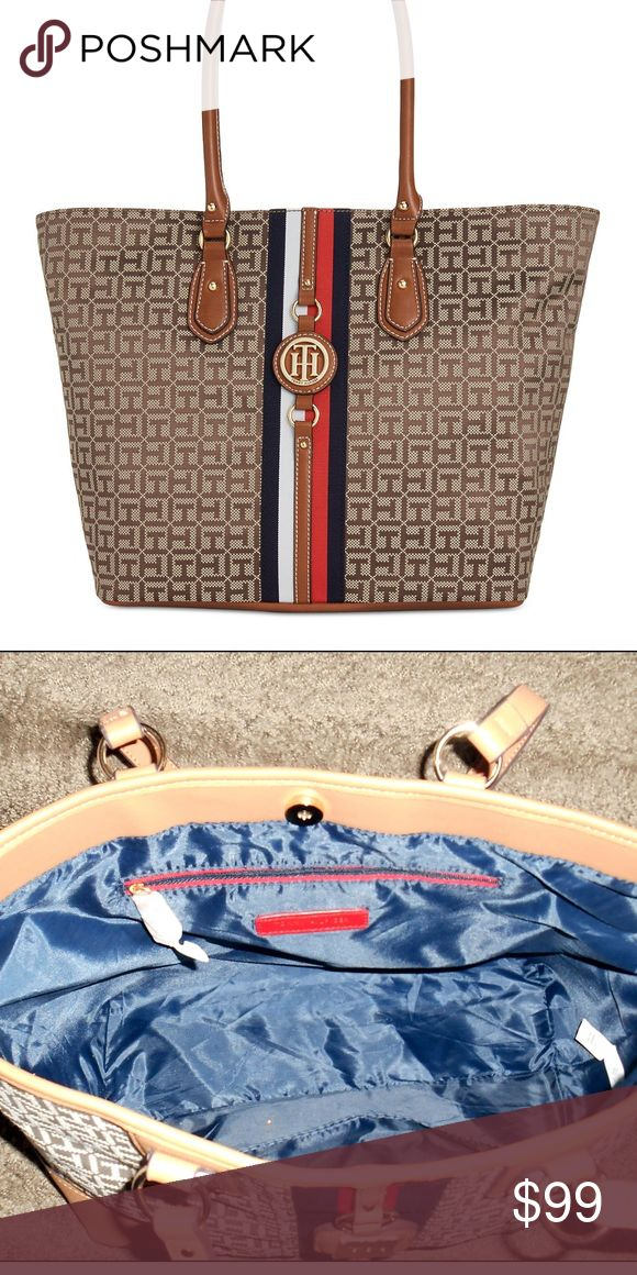 Tommy Hilfiger-Jaden Monogram EXTRA large Tote Bag Brand NEW extra Large Tommy Hilfiger Tote Bag Chic, heritage-inspired details contribute to the upscale look of a capacious Tommy Hilfiger tote designed to handle it all in monogram jacquard. Tommy Hilfiger Bags Totes