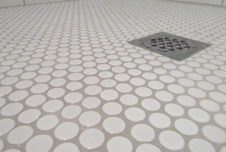 Floors, : Creative Penny Round Tiles For Modern Bathroom Flooring Inspiration