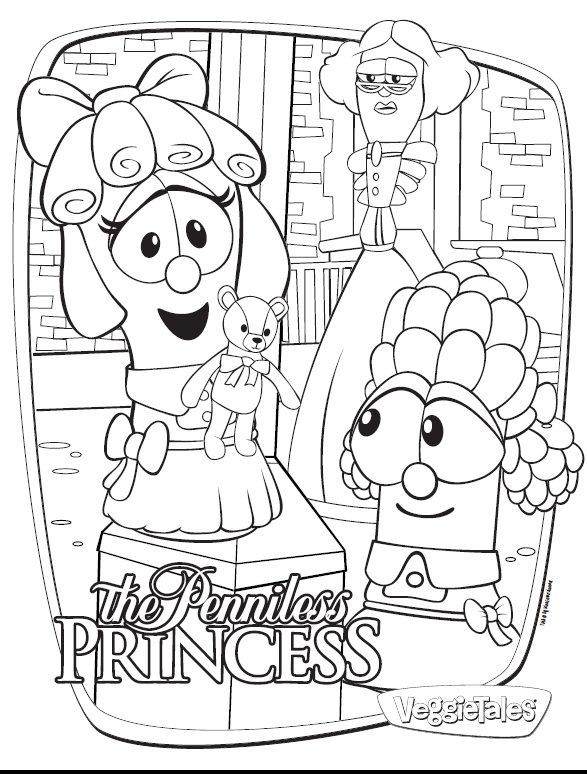 mama to 4 blessings our homeschool blog veggietales the penniless princess free coloring - Veggie Tales Coloring Pages