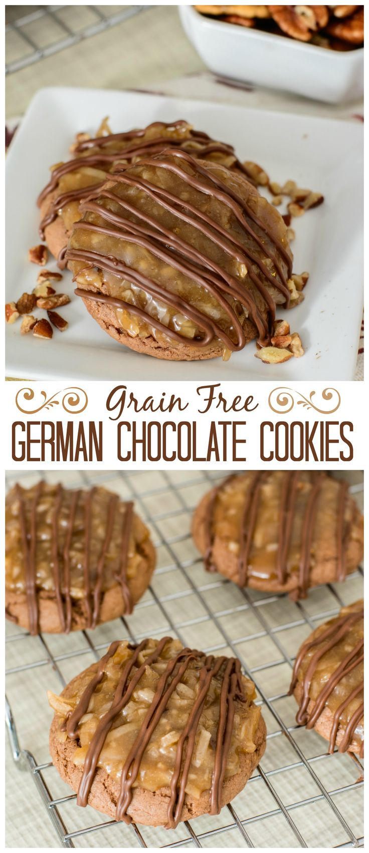 Enjoy a rich, dense, chocolatey cookie topped with a divine coconut pecan frosting and drizzled in chocolate. It's hard to believe these decadent German Chocolate Cookies are grain free. Such a deliciously sinful dessert!