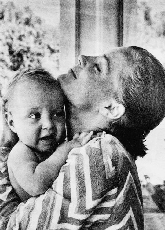 Romy Schneider and her son, David Haubenstock, photographed in 1967.