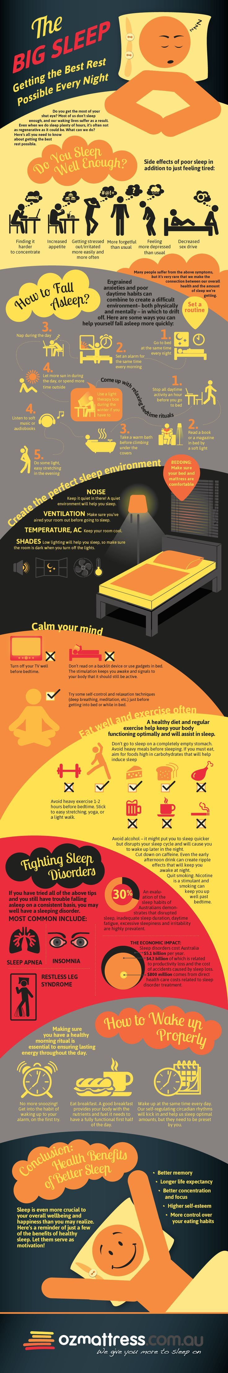 Sleep is crucial to your health fitness overall wellbeing and happiness. Check out this sleep infographic to learn more. get better sleep, sleeping tips