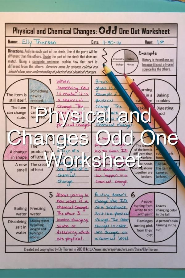 Physical And Chemical Changes Odd One Out Worksheet Chemical Changes Physical Science Physics