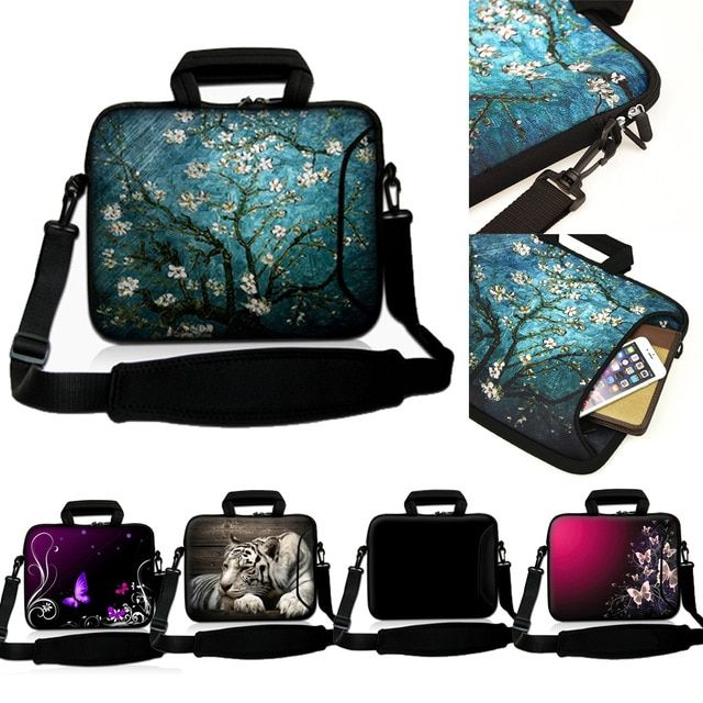 "13.3/"" 13 Laptop Mackbook Chromebook Sleeve Bag Case Shoulder Strap Purple Flower"