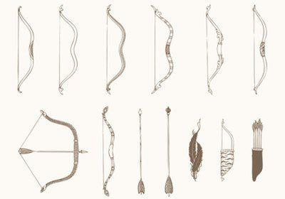 Desenhada à mão Bows and Arrows Vetores Pacote