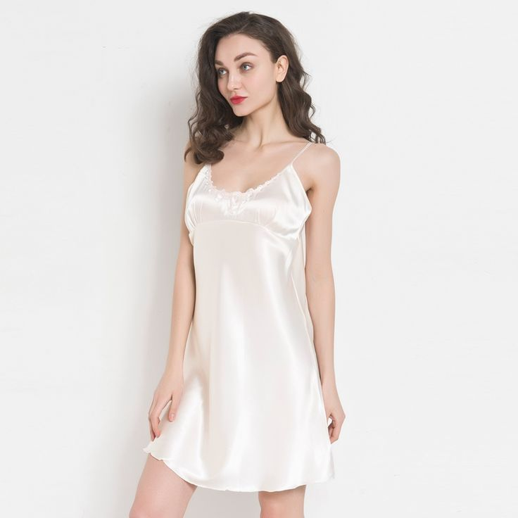 2017 autumn v neck ladies silk satin nightgowns big nightwear for women's sleeveless high grade home wear pijamas #Affiliate