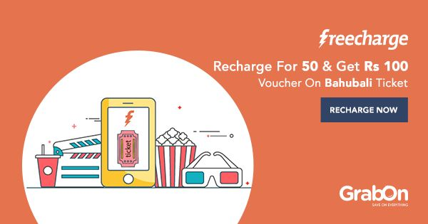 Use @FreeCharge to recharge your phone & get a @bookmyshow voucher of Rs 100!   #Bahubali2 #offers #Baahubali2 #Deals