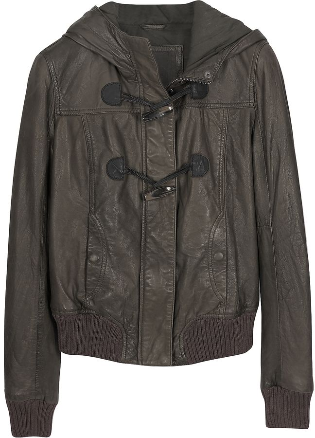 Forzieri Brown Hooded Leather Jacket