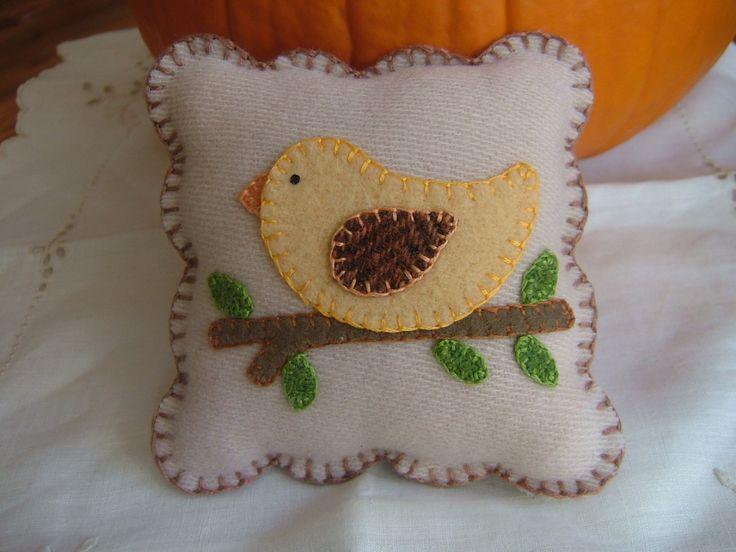 Primitive Wool Spring Bird On Branch Pincushion Mini Pillow Penny Rug. $22.00, via Etsy.