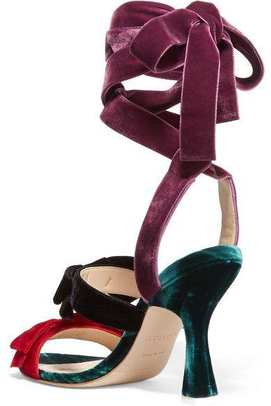 Attico - Diletta Bow-embellished Velvet Sandals - Black - IT37