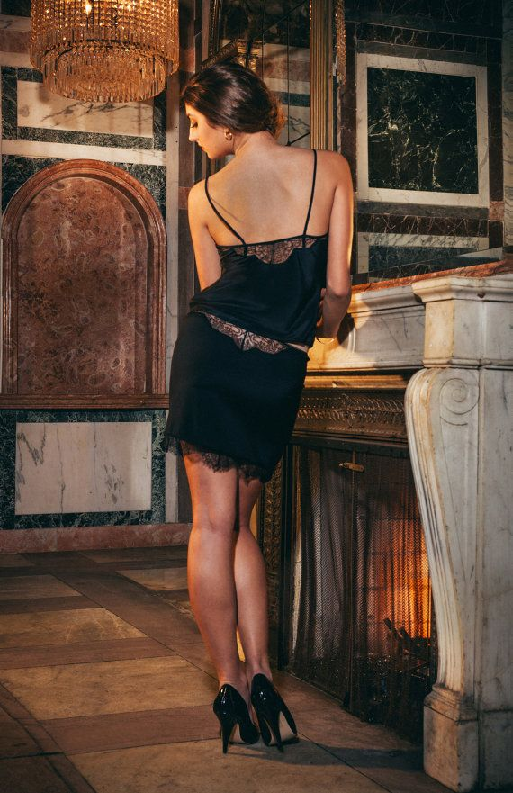 Soir half slip in stretch silk and French lace by