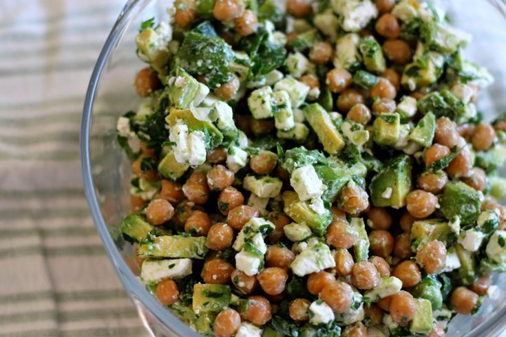 chickpea, avocado & feta salad, with parsley, scallion, and lime. (light, easy, and perfect for hot days.)