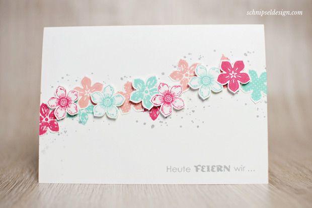 Stampin' Up! Karte Petite Petals und Stanze Kleine Blüte in Jade, Rhabarberrot, Altrosé und Schiefergrau; Geburtstagsallerlei #stampinup #schnipseldesign