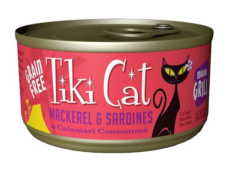 Bring some fresh-from-the-sea nutrition to your kitty's bowl with the Tiki Cat Makaha Grill Mackerel & Sardine in Calamari Consomme Grain-Free Canned Cat Food. It's a luau of flavors purr-fectly fit for your furry carnivore, with wild-caught mackerel and sardine slices as the top ingredients, slow-cooked in calamari consomme made with whole pieces of calamari. Since it's made with actual stock, it provides plenty of moisture to keep your pal hydrated and support digestive and urinary heal...