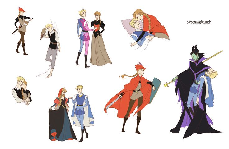Rule 63 (sex-reversed) Sleeping Beauty: Plucky Prince Auron, dashing Princess Phillipa and a malevolent male Maleficent.