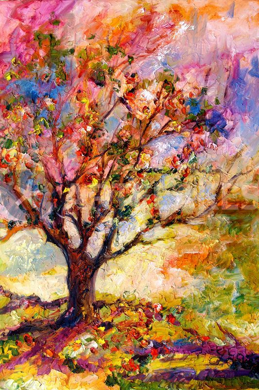 """Grandma's Apple Tree Oil Painting"" Painting by - Ginette Callaway"