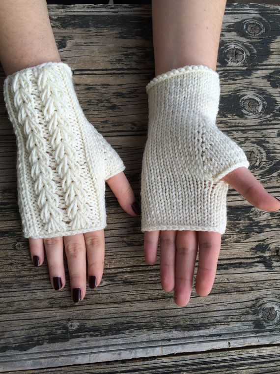 Ivory Cream Fingerless Gloves Cozy Mittens Handknit by NickNacky