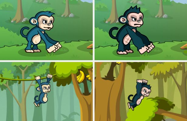 tablet game character - Google Search(Simple Monkey design for tablet side scroller, design is basic but still gives lot of detail)