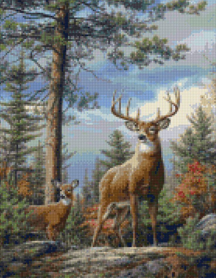 Forest Deer landscape Cross Stitch pattern PDF - Instant Download! by PenumbraCharts on Etsy
