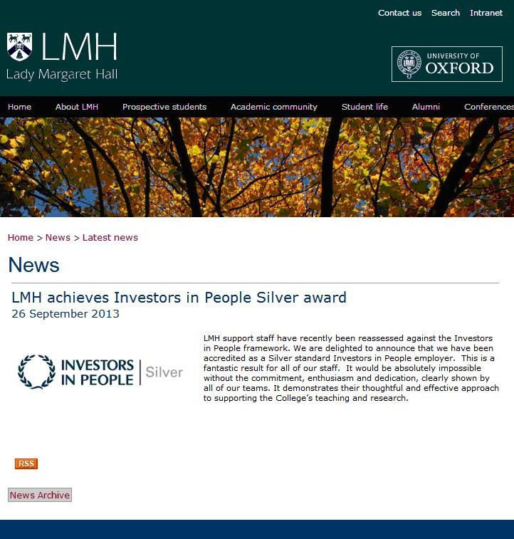 Lady Margaret Hall at University of Oxford achieves IIP Silver Award