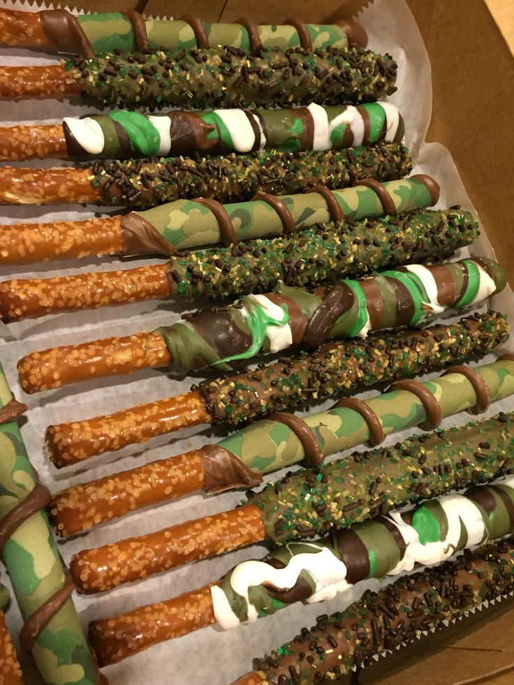 Camo Army Chocolate Dipped Pretzels Camo Party by Eva's Creative Confections, Eva Orlop
