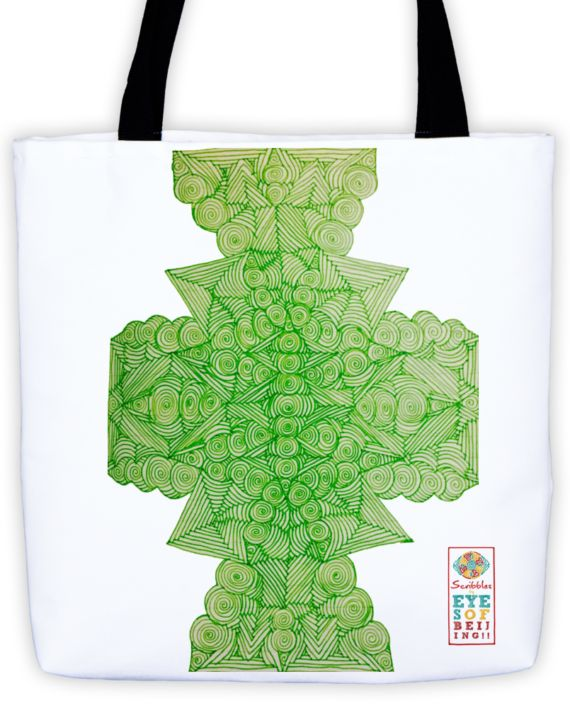 Lucid Lime Scribble Without Words Tote by: Eyes of Beijing
