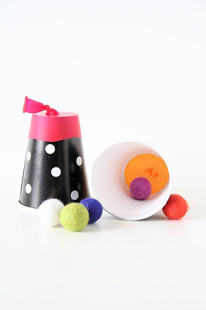 mommo design: WITH A PAPER CUP... Felt ball shooter