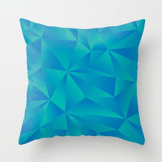 Geometric Cushion Blue Green Pillow Modern Cushion Cover