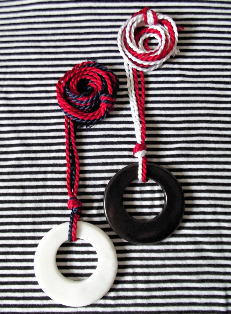 Necklace N02M - white or black marble and silk
