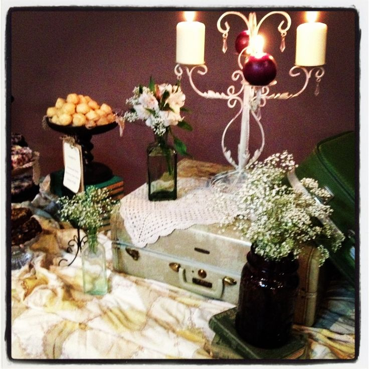 Vintage wedding shower decor at my nieces shower !