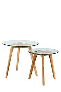 OAK AND GLASS NESTED SIDE TABLES