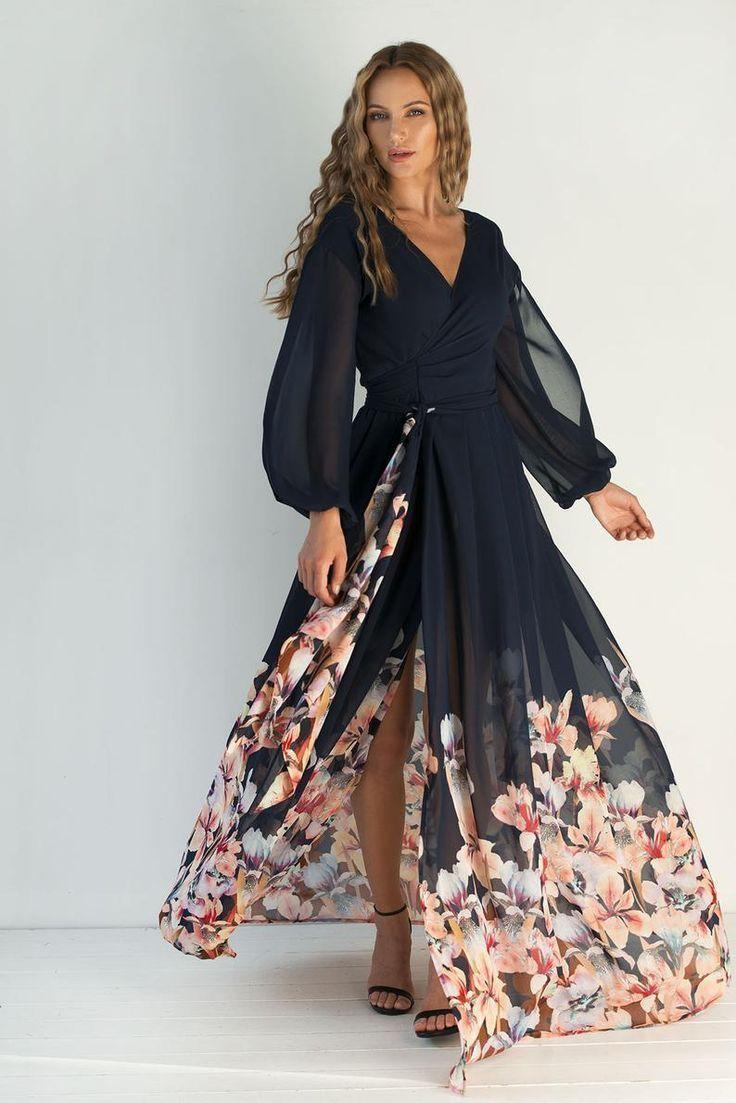 Blumenkleid Hochzeitsgast Wickelkleid bunt lang Cabrio für Damen