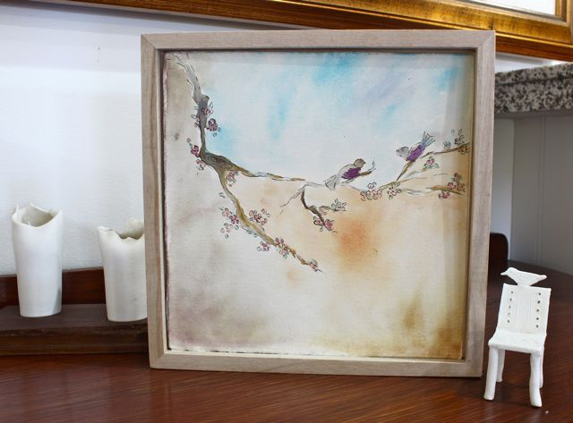 Love birds in a tree - Water colour art work on high quality artists water colour paper by TheFlightyFlamingo on Etsy